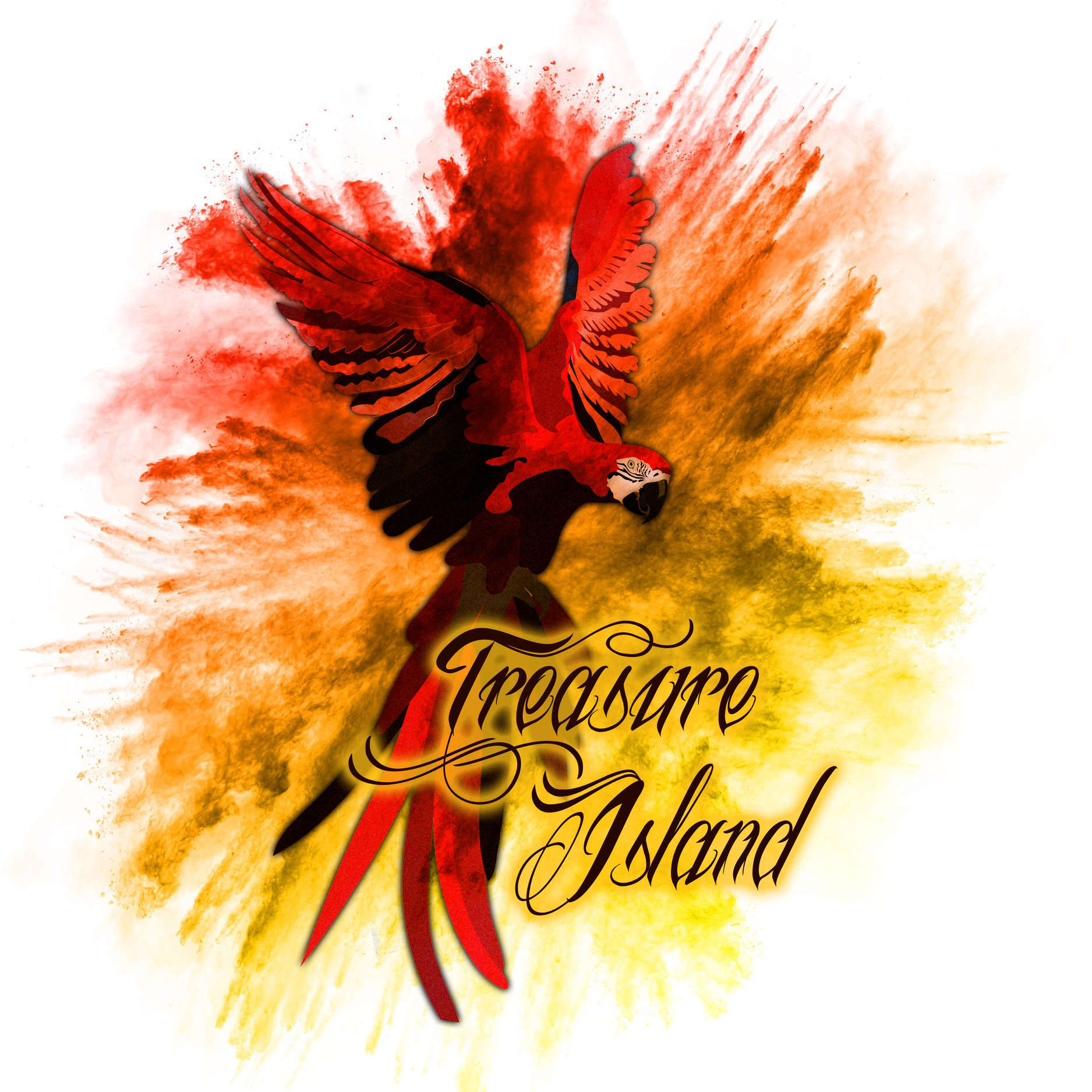 A parrot in flight and the words: Treasure Island